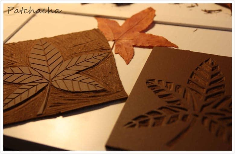 linogravure tissu et série-feuilles