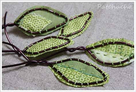 feuilles fil de fe et tissu