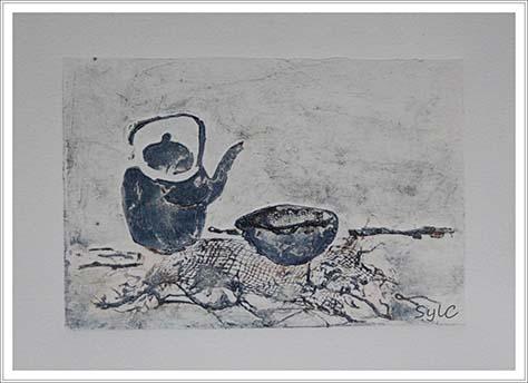 Gravure et tasse de thé