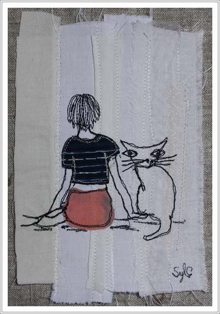 tableau textile - les vacances