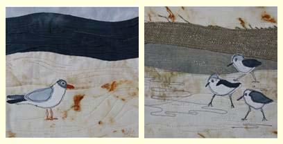 tableaux oiseaux-tissu-appliqué