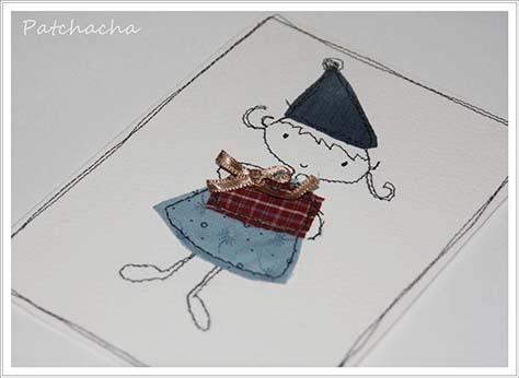 carte Noêl en papier et tissu