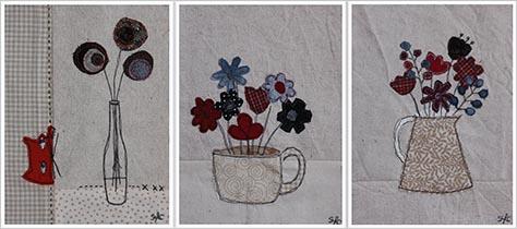 tableaux textiles fleuris