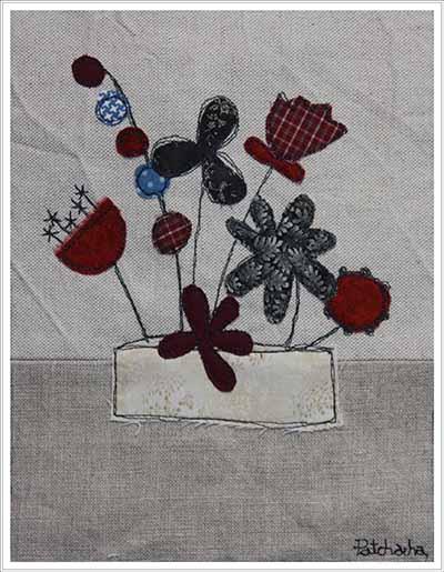 tableau tissu fleuri