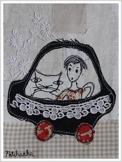 collage textile, voiture en tissu