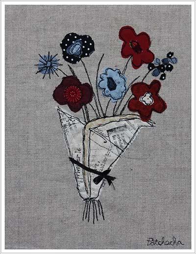 Collage textile, fleurs pour l'été