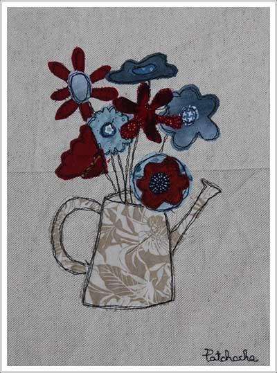 bouquet appliqué en tissu