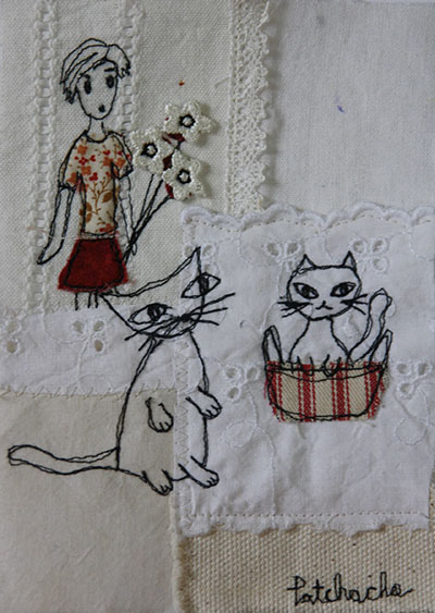 tableau textile chat