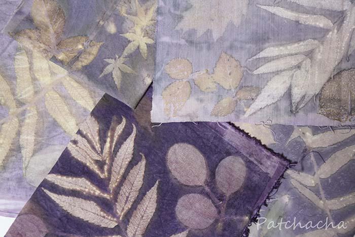Toute sorte de feuilles sur toute sorte de tissus...