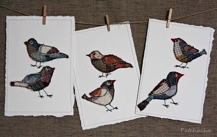 cartes textiles oiseaux