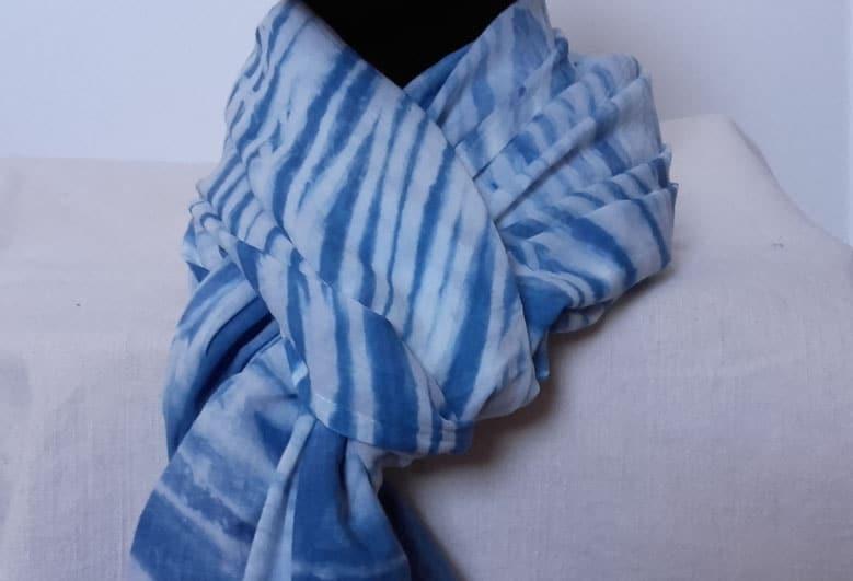 Foulard coton bleu
