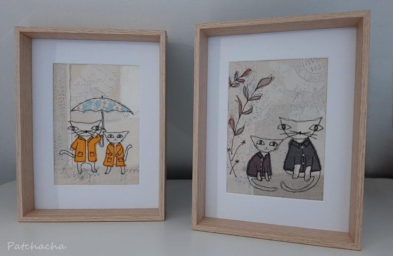 tableaux textiles chats